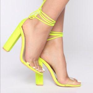 New Fashion Nova Neon Yellow Chunky Heels 7.5
